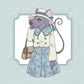 picture of fancy mouse  - retro fashion hand draw vector illustration of mouse - JPG