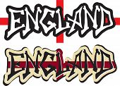 England word graffiti different style. Vector