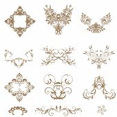 Vector Set Of Decorative Floral Elements....