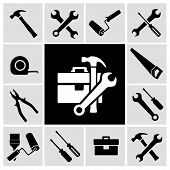 stock photo of social housing  - A collection of black house maintenance or renovation working tools isolated icons set of hammer wrench screwdriver and measuring tape vector illustration - JPG