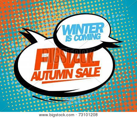 Final autumn sale design in pop-art style.