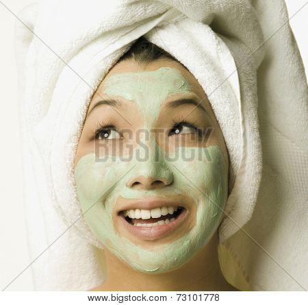 Young woman with face mask on