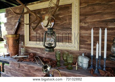 Hunting theme decoration of a summer house
