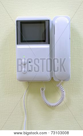 Intercom device on house wall