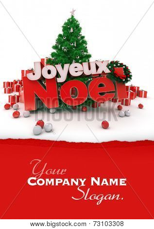 3D rendering of a Christmas decor, with the words happy Christmas in French: Joyeux Noel