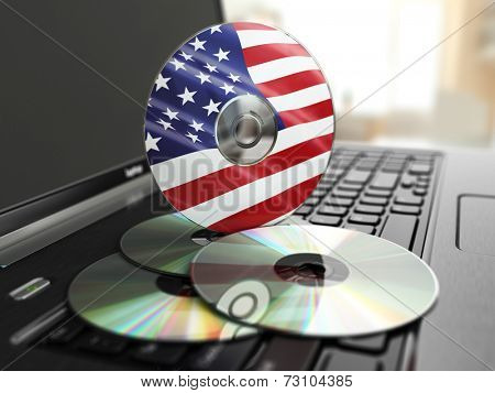 Software made in USA CD on laptop keyboard. Compact disks. 3d