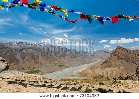 Buddhist prayer flags (lungta) in Spiti valley.  Dhankar, Spiti valley, Himachal Pradesh, India