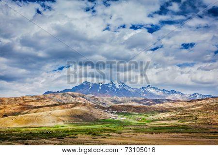 Himalayan village in Himalayas mountains. Spiti valley, Himachal Pradesh, India