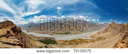 Panorama of Spiti valley in Himalayas. Himachal Pradesh, India