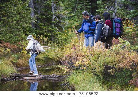 Family crossing river on log