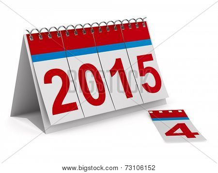 2015 year calendar on white backgroung. Isolated 3D image
