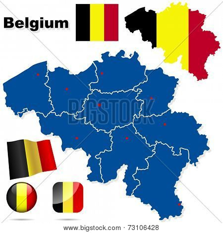 Belgium set. Detailed country shape with region borders, flags and icons isolated on white background.