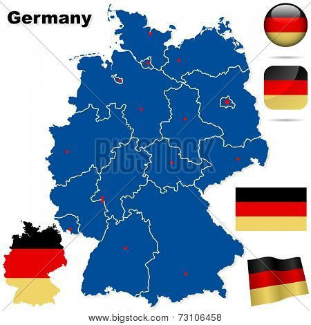 Germany set. Detailed country shape with region borders, flags and icons isolated on white background.