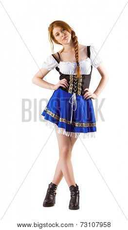 Oktoberfest girl looking at camera on white background