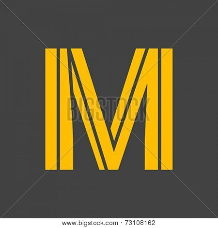 Letter M vector alphabet impossible shape.  ABC concept type as logo. Typography design