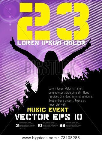 Music poster background with dancing people, vector