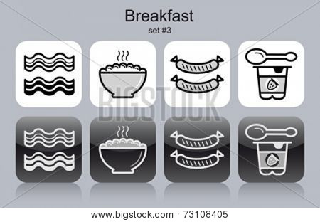 Breakfast menu food and drink icons. Set of editable vector monochrome illustrations.