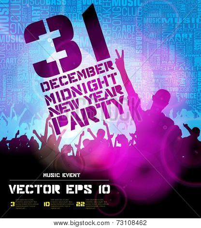 Dancing people, background for new year party event poster, vector