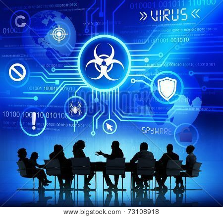 Group of Corporate People having a Meeting about Threat caused by Viruses