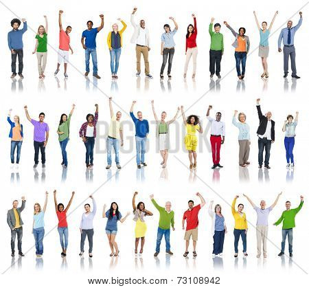 Group of Diverse People Hands Raised Celebrating