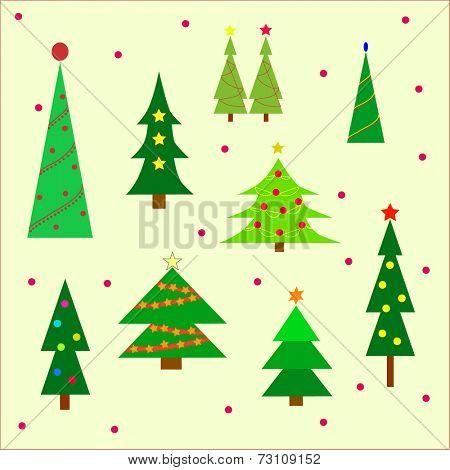 Christmas tree display on a yellow background.  Eps10 vector format.