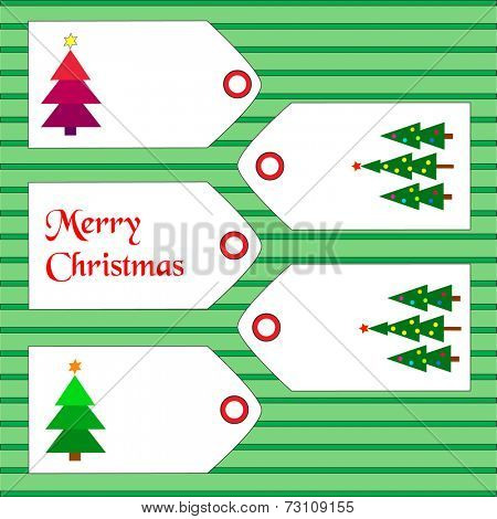 Tags with christmas tress and wishes on green lined background. Eps10 vector format.