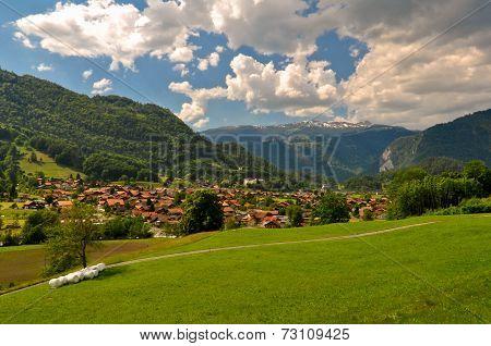 Swiss Village in Mountains