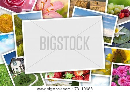 Stack of printed pictures collage with copy space for your photo