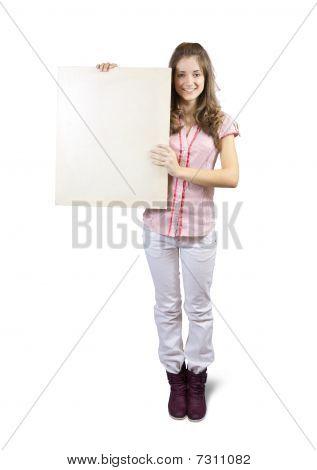 Teen Girl Holds Blank Canvas