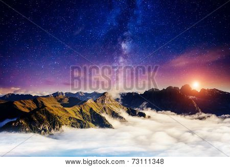 Sassolungo (Langkofel) and Sella group under starry light. Natural park Dolomites, valley Gardena, South Tyrol. Location Ortisei, S. Cristina and Selva, Italy, Europe. Astrophotography. Beauty world.