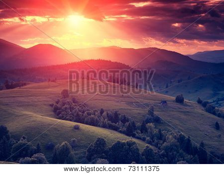 Fantastic sunny hills glowing by sunlight. Dramatic scenery. Carpathian, Ukraine, Europe. Beauty world. Retro style filter. Instagram colorful toning effect.