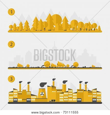 Ecology concept - deforestation, construction of city - flat design