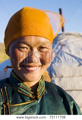 Mongolian woman in traditional dress.