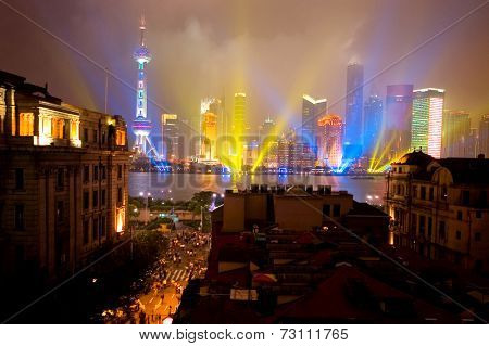 The contrast of the old Bund and very modern Pudong on a rainy national holiday.