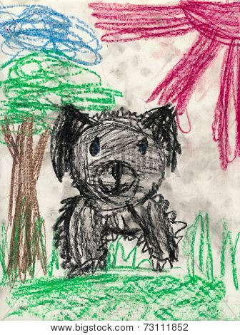 black disheveled dog. children drawing