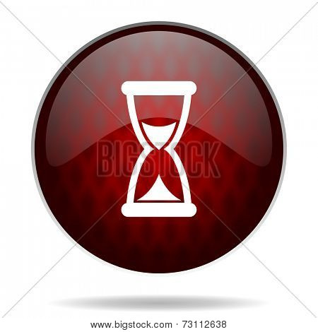 time red glossy web icon on white background