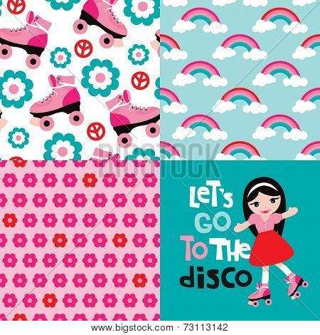 Let's go to the disco design with seamless rainbow flowers and roller skates background pattern in vector collection set