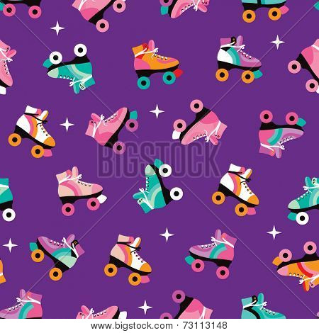 Seamless retro roller skates colorful disco theme illustration background pattern in vector