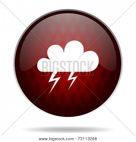 storm red glossy web icon on white background