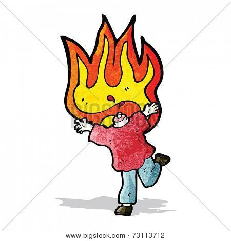 cartoon flaming headless man