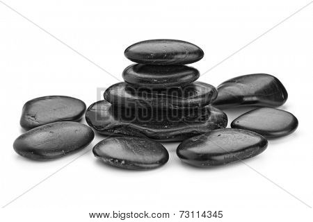 zen basalt stones  isolated on white