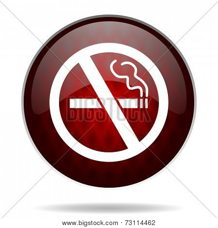 no smoking red glossy web icon on white background