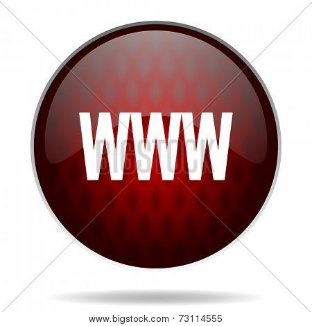 www red glossy web icon on white background