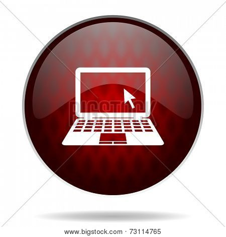 computer red glossy web icon on white background