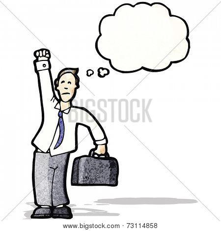 cartoon  businessman punching air