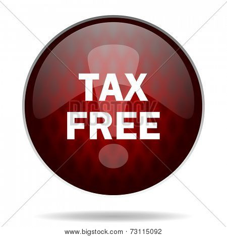 tax free red glossy web icon on white background
