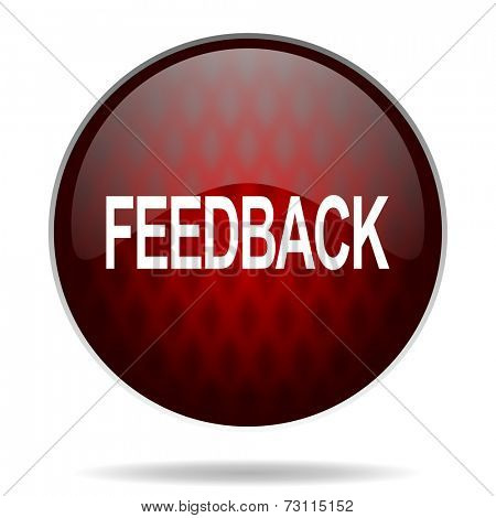 feedback red glossy web icon on white background