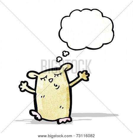 cartoon hamster with thought bubble