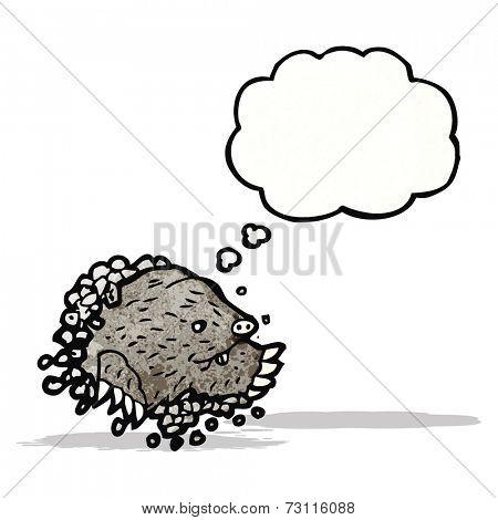 cartoon digging mole