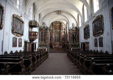 SCHONAU, GERMANY - JULY 18: Schonau Abbey. Schonau Abbey is a monastery of Friars Minor in the village of Schonau near Bavarian village of Gemunden am Main, Diocese of Wurzburg. July 18, 2013